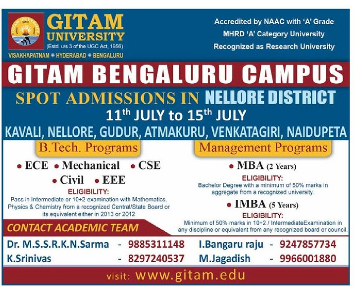 Gitam Bangalore Campus Admissions in Nellore