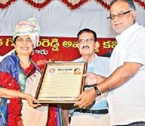 begore award to shantha sinha in Nellore