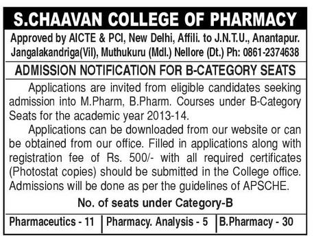 chaavan pharmacy college nellore