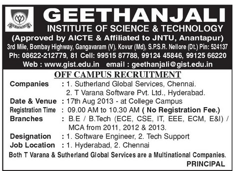 geethanjali engineering college campus recruitments