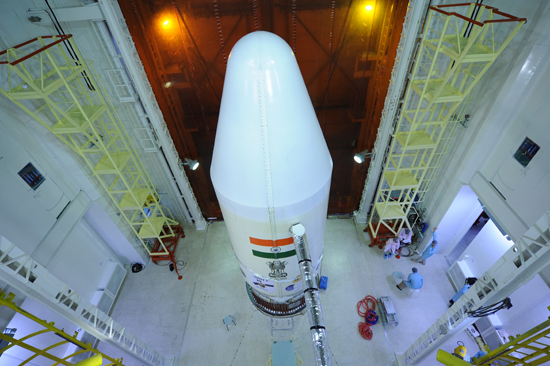 pslv-c23 Heat-shield closed with five satellites integrated to the Launch Vehicle
