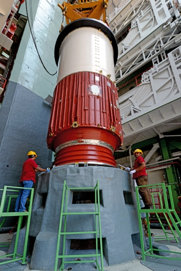 pslv-c23 First Stage Nozzle End Segment Being Placed On Launch Pedestal