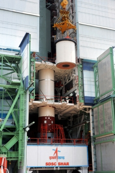 Integration of PSLV-23 First Stage Segments in Progress Inside Mobile Service Tower