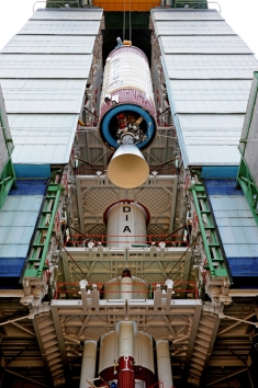 Hoisting of PSLV-C23 Second Stage in the Mobile Service Tower