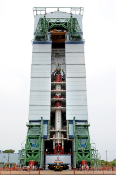 pslv-c23 after the integration of all its four stages at Mobile Service Tower