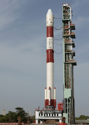 PSLV C23 on the first launch pad